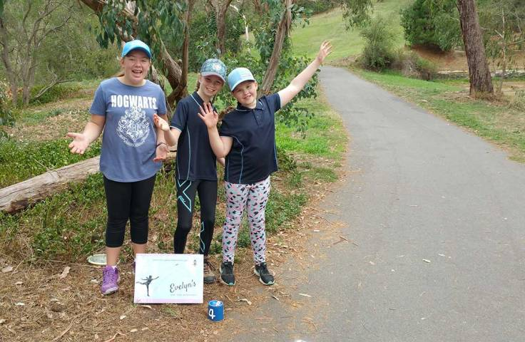 """Rylee, Evelyn and Lily at Evelyn's sponsored hole, """"The Quarry"""""""