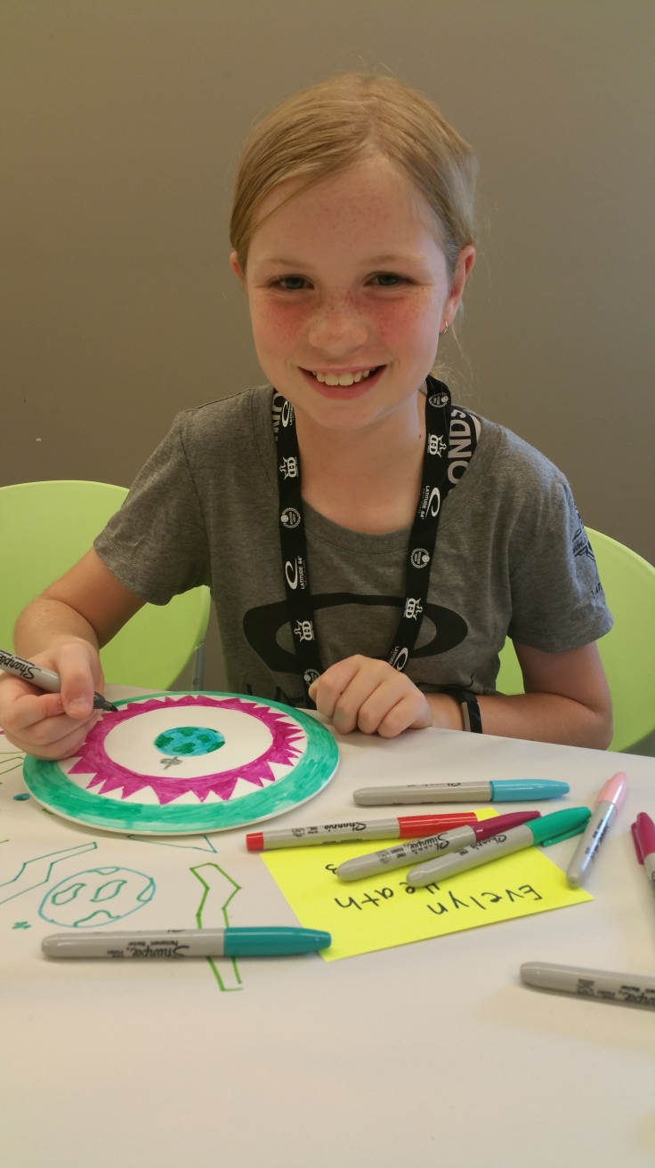 Evelyn decorating her disc