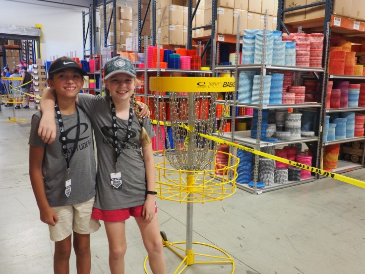 Evelyn and Maryjane at teh Dynamic Discs Warehouse in Emporia